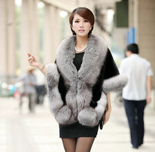 Womens Luxury Faux Mink Cashmere Party Wedding Ladies Winter Long Fur Coat Shawl Black-gray