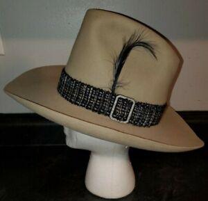 ☆Vintage Womens Stetson 3X Beaver XXX Dark Tan Rancher Western Hat w Feather