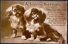 Birthday Greetings from Two Pekinese Dogs. 1936 Vintage Postcard. Free Post