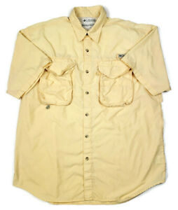 Columbia PFG Mens M Short Sleeve Button Front Quick Dry Mesh Vented Shirt Yellow