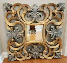 Large Square Matte Gold & Silver Curvy Frame Accent Wall Mirror