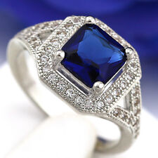 18K WHITE GOLD GF BLUE SAPPHIRE LAB DIAMOND SQUARE ENGAGEMENT WEDDING WOMEN RING