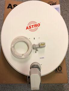 Astro Satellitenanlage 85cm, Quad-LNB (4Teilnehmer), weiß,25m, neu, für UHD,  4k