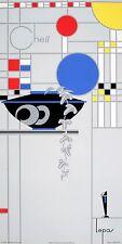 Original Vintage Art Poster Chess by Lepas 1990 Art Deco Mondrian William Morris