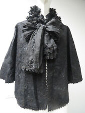 Vtg Ca 1880 Victorian Cape Mantel Cord Embroidered Long Silk Pleated Ties Ruffle