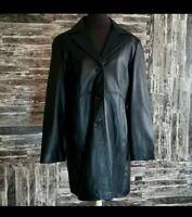 Winlit Black Leather Trench Jacket coat Large EUC