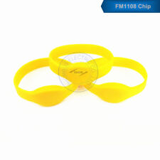 Waterproof 13.56MHz MF IC RFID Silicone Proximity Yellow Wristband Watch Tag-50p