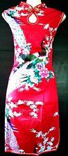 Asia Qipao Geisha Mini-Kleid Dress Kostüm Seide Pfau-Muster Gr.34-48