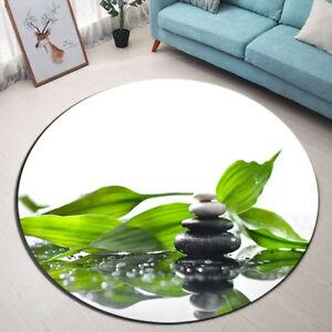 Green Bamboo Leaf Spa Floor Non-slip Beach Mat Room Yoga Carpet Round Area Rug