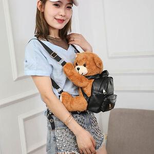 Women Lolita Casual Stuffed Doll Backpack Cute Warm Plush Bear Shoulders Bag