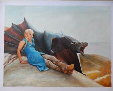 """Game of Thrones DAENERYS Dragon ART Oil On Canvas Painting HUGE 30x40"""""""