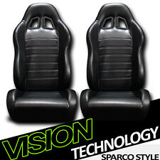 JDM SP Style Black PVC Leather Reclinable Racing Bucket Seats w/Sliders Pair V09