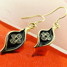 EARRINGS DROPS 18K YELLOW GF GOLD DIAMOND SIMULATED BLACK ENAMEL DESIGN FS3A534