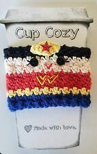 Wonder Woman Superhero Crochet Coffee Cup Cozy Drink Sleeve Best Seller Handmade