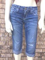 Big Star Women's Sz 26 Sweet Distressed Ultra Low Rise Crop/Capri Denim Jeans