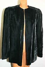 Vintage 1940s S~M Black Velvet Open Jacket Coat Opera Wedding LINING DAMAGE