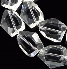 20x15mm Handmade Faceted Clear Crystal Nugget Beads 14""