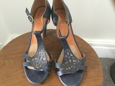 coclico womens blue leather t bar sandal size 39.5