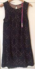M&S Black Floral Lace Shift Dress 8 NEW
