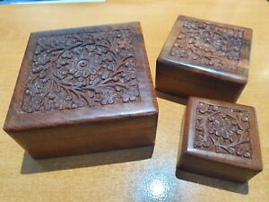 20 x Set of 3 Assorted (10 x Carved & 10 x Brass Inlaid) Square Wooden Boxes