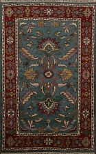 Geometric All-Over Medium Blue 4x6 ft Heriz Oriental Area Rug Hand-Knotted Wool