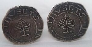 COLONIAL - Cufflinks with Shilling Pine Tree 1652 - For a numismatist jacket !