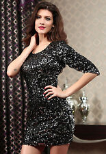 Midnight Glam Silver Black Sequined Cocktail Mini Dress One Sleeve 2856