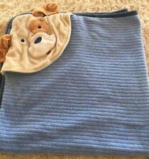 Carters Boys Blue Brown Puppy Dog Hooded Baby Bath Towel