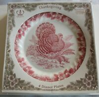 Thanksgiving Red and White Turkey Queen's Myott plates/ bowls. Retired pattern.