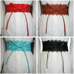 Women Wedding Party Dress Slim Stretch Wide Lace Strap Waistband Elastic Belt FW