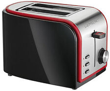 Clatronic Toaster Edelstahl Gehäuse schwarz inox mit Brötchenaufsatz 800Watt