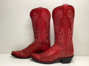 #W1 VTG WOMENS LUCCHESE 1883 SNIP TOE COWBOY RED BOOTS SIZE 7.5 B