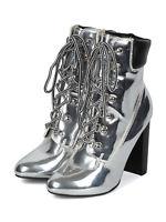 16be9358a68f Women Metallic Lace Up Padded Collar Block Heel Combat Work Boots 18166
