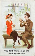 WW1 Patriotic 48th Canadians 'Holding The Line' Soldier Woman Comic Postcard G30