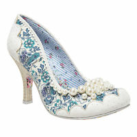 NEW IRREGULAR CHOICE *PEARLY GIRLY* WHITE (D) PEARL BEADED FLORAL HEELS