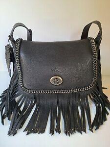 """""""RARE"""" COACH Dakotah Fringe Large Black Leather Shoulder Bag"""