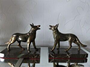 Ancienne PAIRE de SERRE LIVRE Art Déco Chiens Loups Berger régule sur marbre