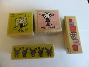 4 WOODEN RUBBER STAMPS  SMIRK CUTE GIRLS IDEAL FOR CARD MAKING