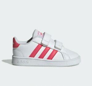 Adidas Originals Girl's Shoe Grand Court I White / Pink Size US 10 (Little Kid)
