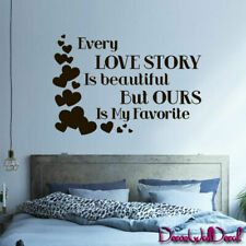 Wall Decal Family Every Love Story Is Beautiful Quote Home Bedroom Bed M1601