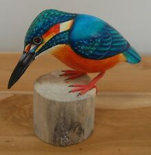 Hand carved and painted wooden Kingfisher on parasite wood base - 13cm