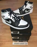 New Nike Air Jordan Retro 1 Mid Black Grey White Men's 11-13 Sneakers 554724-073