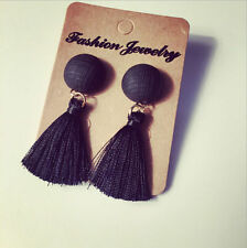 Fashion Simple Black White Thread Tassel Drop Dangle Women Earrings Jewelry