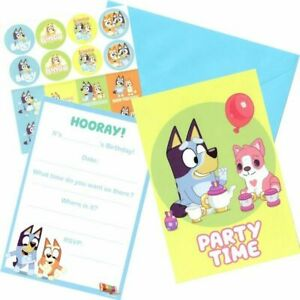 Bluey Party Invitations pack of 8 Postcards/Envelops/Seals Bluey Party Supplies