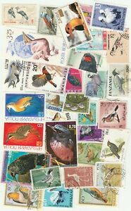 BIRDS 75 USED DIFFERENT STAMPS