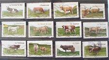 Lot de 12 timbres oblitérés FRANCE 2014 Vaches de nos régions
