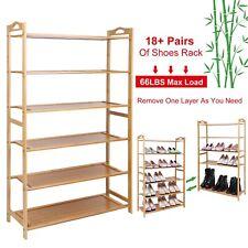6 Tier Wood Bamboo Shelf Entryway Storage Shoe Rack  Organizer Home Furniture