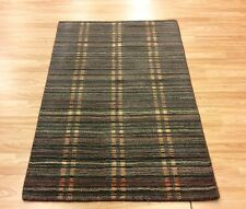 Grey Blue Modern Striped Multi Colour Handwoven Wool Rug Medium 93x151cm 50%OFF