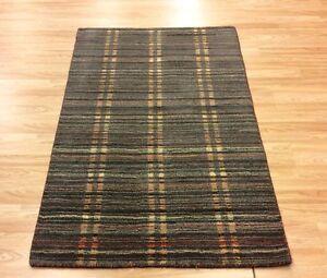 Grey Blue Modern Striped Multi Colour Handwoven Wool Rug Medium 93x151cm 50%OFF