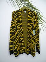NWT Susina Womens Open Front Zebra Print Long Sleeves Fuzzy Cardigan Size Medium